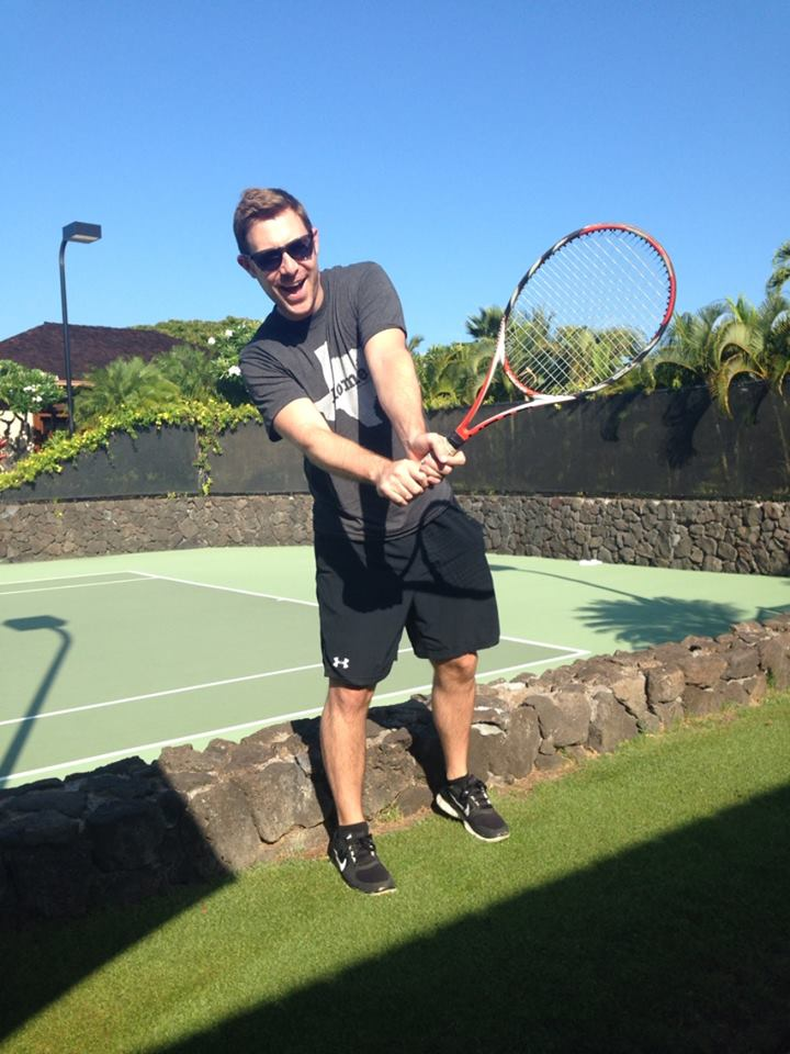 Goofing around before a tennis clinic in Hawaii.